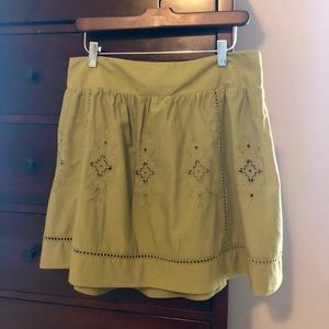 J.Crew eyelet miniskirt. Avacado, size 10